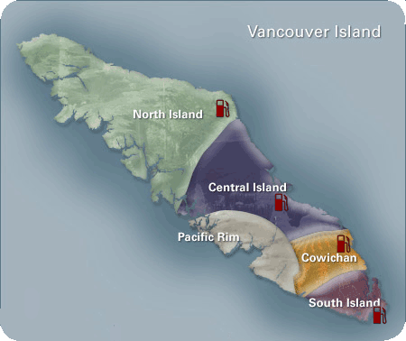 Click a location for Indian- First Nations Gas Stations on Vancouver Island