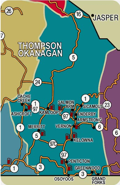 Click a location for Indian- First Nations Gas Stations in the Thompson Okanagan
